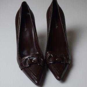 Maripe Leather Chocolate Pointed Toe Heels
